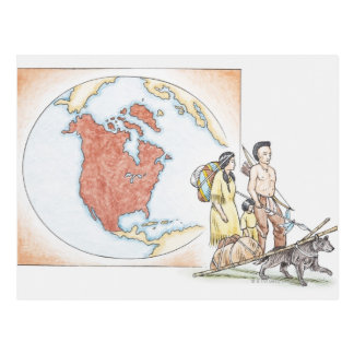 Illustration of American Indian family in front Postcard