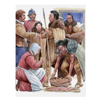 Illustration of American Indians giving English Postcard