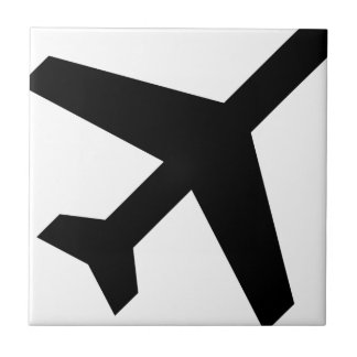 Illustration Of An Airplane Silhouette Ceramic Tile