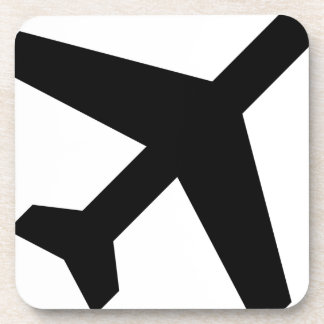 Illustration Of An Airplane Silhouette Coaster