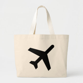 Illustration Of An Airplane Silhouette Large Tote Bag