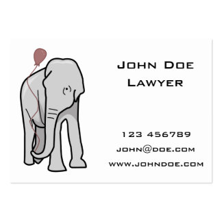 Illustration Of An Elephant Holding A Balloon Pack Of Chubby Business Cards