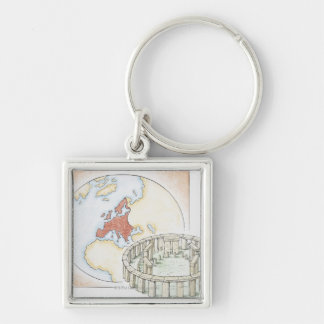 Illustration of ancient stone circle in front of Silver-Colored square key ring