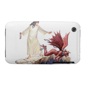 Illustration of angel looking on as red dragon iPhone 3 Case-Mate case