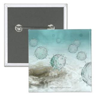 Illustration of avian flu cells 15 cm square badge