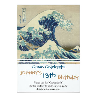 Illustration of blue japanese wave 13 cm x 18 cm invitation card
