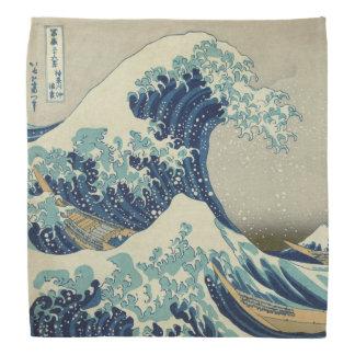 Illustration of blue japanese wave bandana