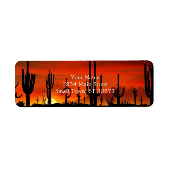 Illustration of cactus tree when the sunset return address label