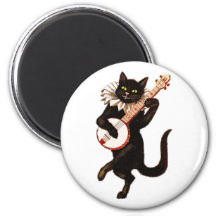 Illustration of Cat playing Banjo - crazy cat Magnet