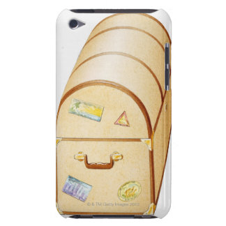 Illustration of chest with travel stickers on barely there iPod case