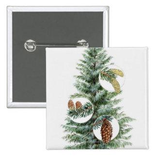 Illustration of coniferous tree with cones 15 cm square badge