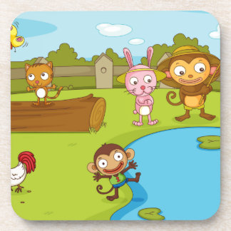 Illustration of cute animals playing coaster