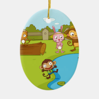 Illustration of cute animals playing christmas ornaments