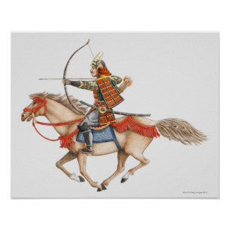 Illustration of early Samurai warrior on Poster
