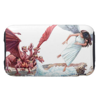 Illustration of Earth parting to swallow water Tough iPhone 3 Cover