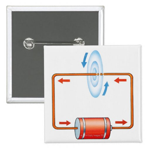 Illustration of electric current producing pinback buttons