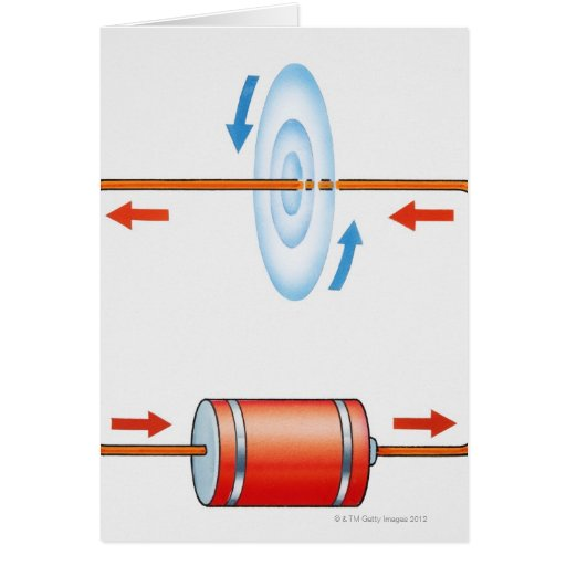 Illustration of electric current producing greeting cards