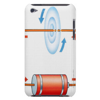 Illustration of electric current producing barely there iPod case