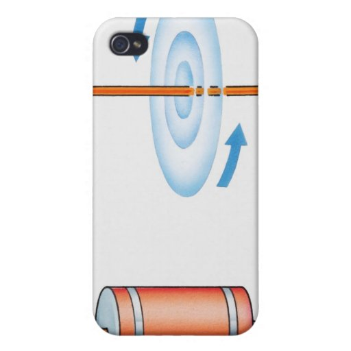 Illustration of electric current producing case for iPhone 4