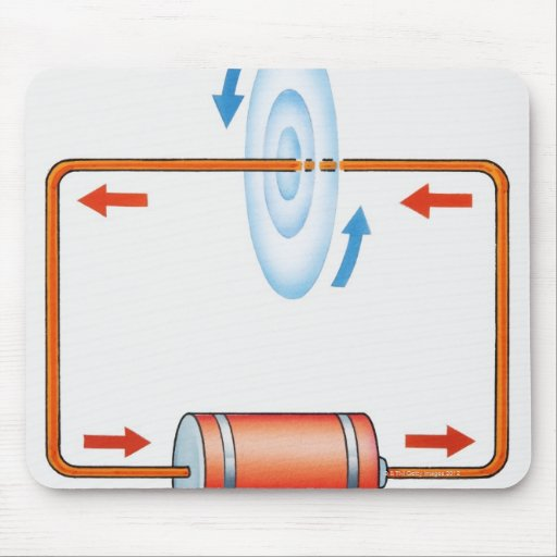 Illustration of electric current producing mouse pad