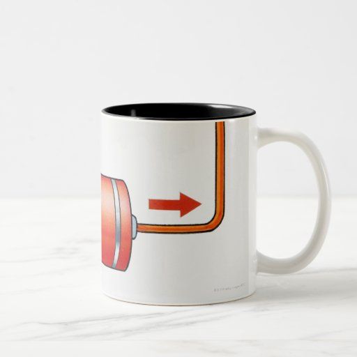 Illustration of electric current producing coffee mugs