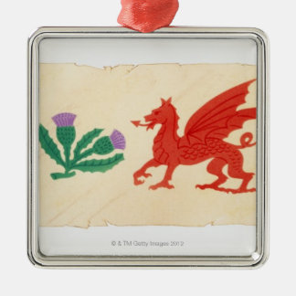 Illustration of English Rose, Scottish Thistle, Metal Ornament