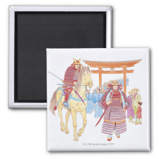 Illustration of Japanese Samurai leading Magnet