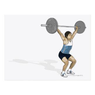 Illustration of man performing weightlifting postcard