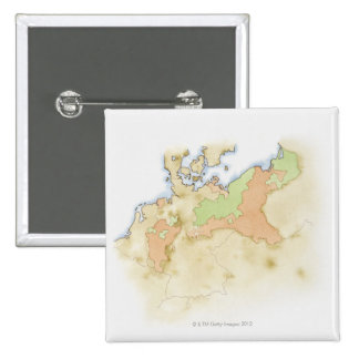 Illustration of map of Germany 15 Cm Square Badge