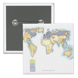 Illustration of map of the world showing areas 15 cm square badge