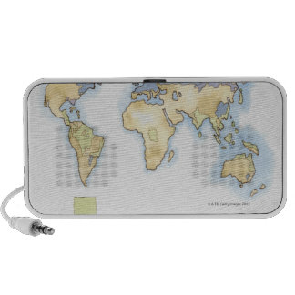 Illustration of map of the world showing areas iPhone speaker