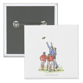 Illustration of men playing rugby jumping in air 15 cm square badge