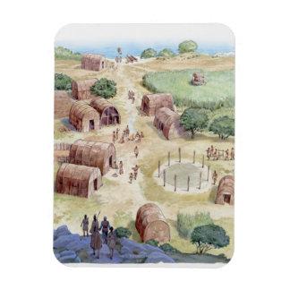 Illustration of native American village Magnet