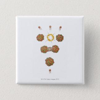 Illustration of neutron hitting Uranium-235 15 Cm Square Badge