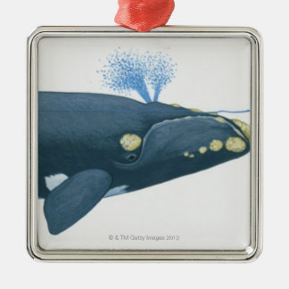 Illustration of North Pacific Right Whale Metal Ornament