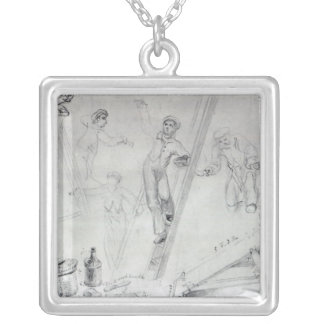 Illustration of Painting and Decorating Silver Plated Necklace