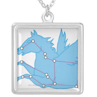 Illustration of Pegasus constellation Silver Plated Necklace