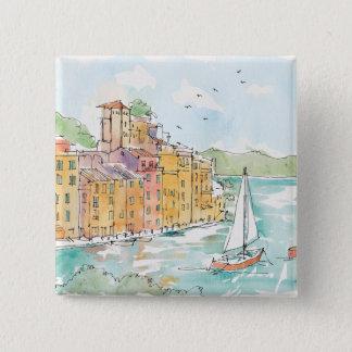 Illustration of Porofino Harbor With Sailboat 15 Cm Square Badge