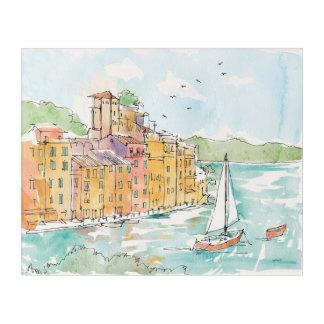 Illustration of Porofino Harbor With Sailboat Acrylic Print