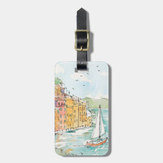 Illustration of Porofino Harbor With Sailboat Luggage Tag