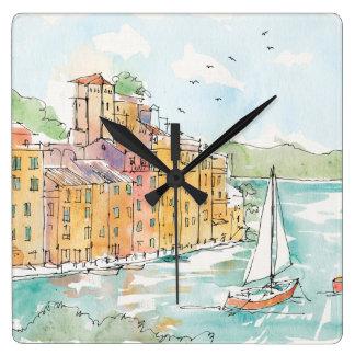 Illustration of Porofino Harbor With Sailboat Square Wall Clock