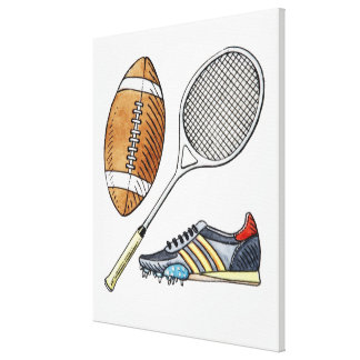 Illustration of rugby ball, tennis racquet, gallery wrapped canvas