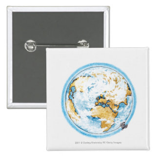 Illustration of satellite orbiting the Earth 15 Cm Square Badge