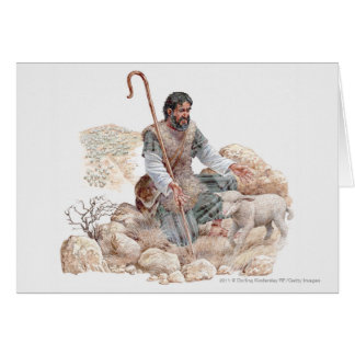 Illustration of shepherd finding his lost sheep card