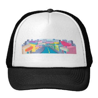 Illustration of shopping street mesh hat