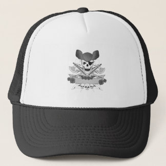 illustration of  skull with snakes and roses trucker hat