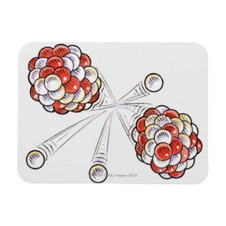Illustration of split atoms and neutrons rectangular photo magnet