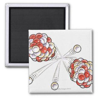 Illustration of split atoms and neutrons square magnet