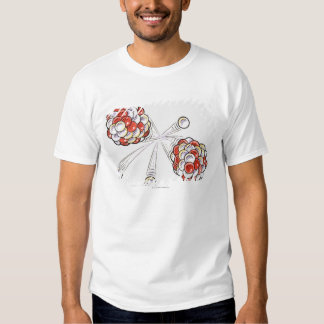 Illustration of split atoms and neutrons t shirt