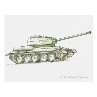 Illustration of tank postcard